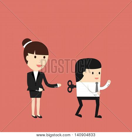 Business situation. The businesswoman sets up workers Symbol management of the company. Vector illustration.