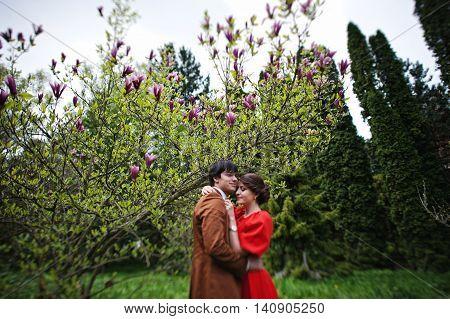 Couple Hugging In Love Near Magnolia Tree. Stylish Man At Velvet Jacket And Girl In Red Dress In Lov