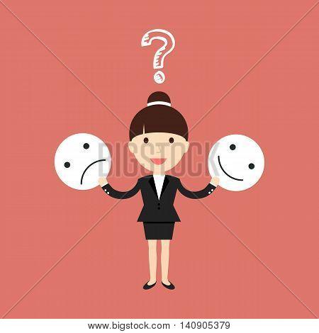 Business situation. Businessman trying joyful and sad mask. Vector illustration.