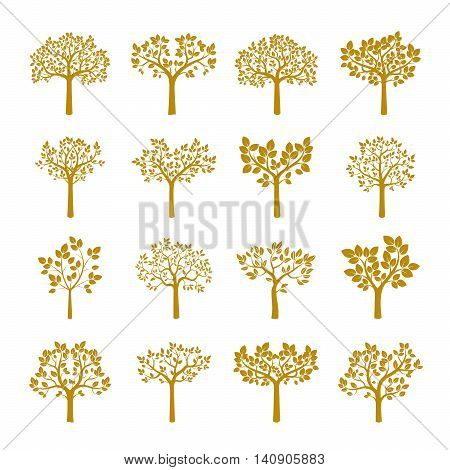 Set of Golden Trees. Vector Illustration and Floral Elements.