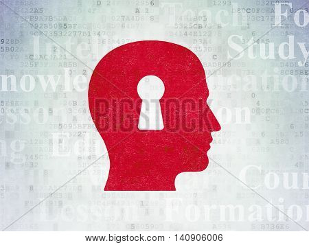 Learning concept: Painted red Head With Keyhole icon on Digital Data Paper background with  Tag Cloud