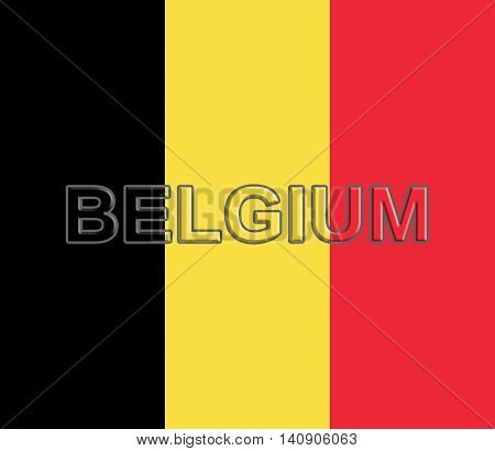 Illustration of the national flag of Belgium with the word Belgium written on the flag
