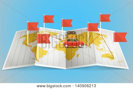 World map with red flag and vehicle. Design elements