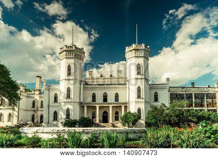 great White Swan castle in Sharivka park, Kharkiv region, Ukraine