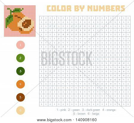 Color By Number, Fruits And Vegetables, Apricot