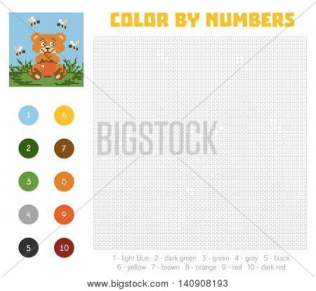 Color by number education game for children. Cute bear character. Coloring book with numbered squares