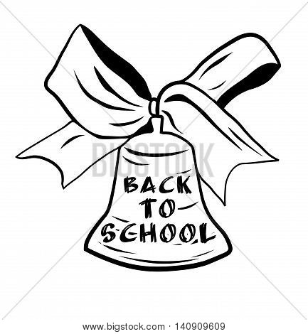 School bell with bow ribbon - isolated. Welcome back to school. Vector illustration.