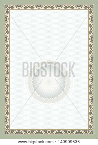 Decorative frame and background on A4 page, guilloche rosette.