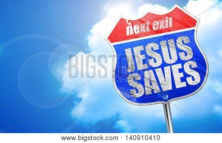 jesus saves, 3D rendering, blue street sign