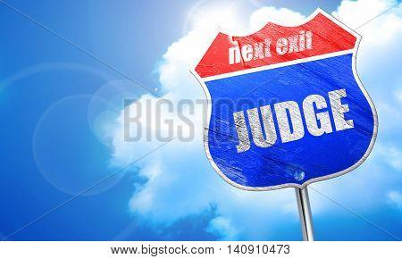 judge, 3D rendering, blue street sign