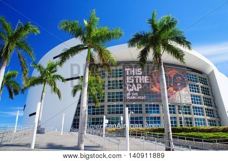 MIAMI, UNITED STATES - FEBRUARY 11: American Airlines Arena in Miami as seen on 12th of February, 2016 in Miami.