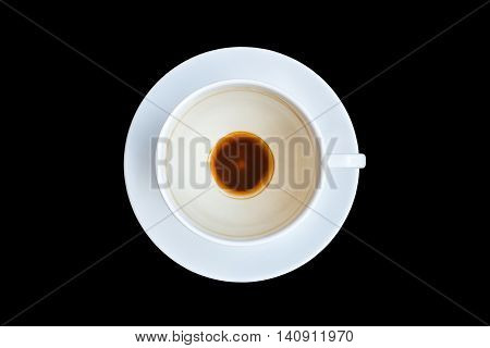 Top View Empty Coffee Cup After Drinking Isoalted On Black. Saved With Clipping Path