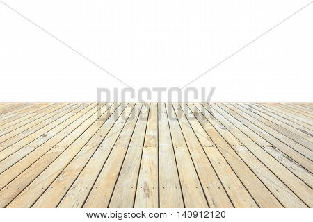 Old Exterior Wooden Decking Or Flooring Isolated On White. Saved With Clipping Path