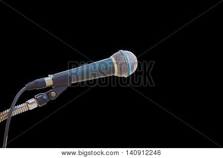 Close Up Old Microphone Isolated On Black. Saved With Clipping Path