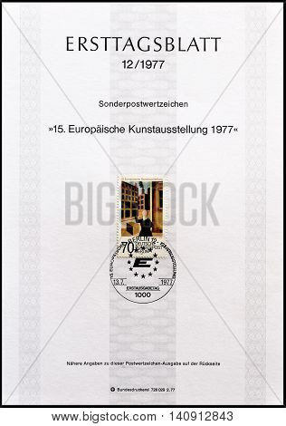 GERMANY - CIRCA 1977 : Cancelled First Day Sheet printed by Germany, that shows painting by Grosz.