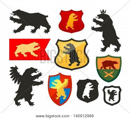 Shield with bear vector logo. Coat of arms, heraldry set icon