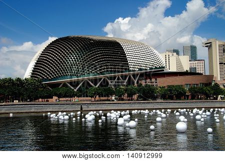 Singapore - December 24 2007: The Theatres on the Esplanade known as the Durians for their resemblance to the famed SE Asian fruit viewed across the Singapore River