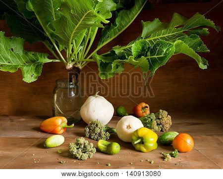 Horseradish with large leaves in a vase and various fresh vegetables on wooden background