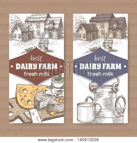Set of two color dairy farm shop labels with farmhouse, cheese, metal milk jug and cup on white background. Placed on cardboard texture. Includes hand drawn elements.