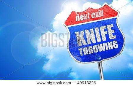 knife throwing, 3D rendering, blue street sign