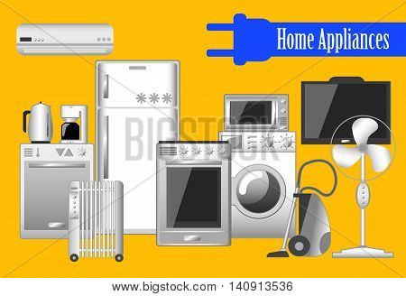 Home appliances set of vector illustrations electronic household keeping devices. Clever home picture or banner. Comfort technology kitchen machines convenient house. Advertisement banner template
