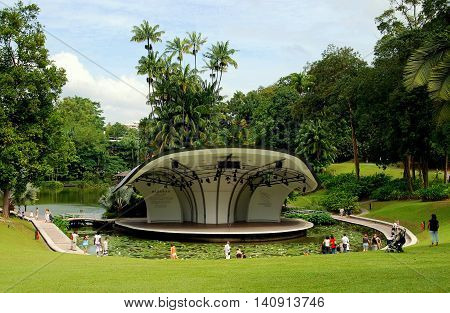 Singapore - December 22 2007: The Shaw Foundation Symphony Stage surrounded by a moat filled with lily pads is used for outdoor concerts at the Singapore Botanic Gardens