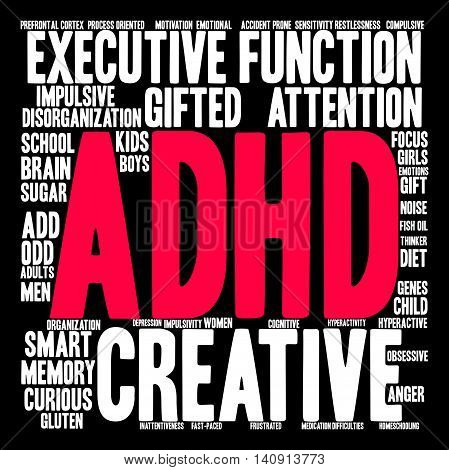 ADHD word cloud on a black background.