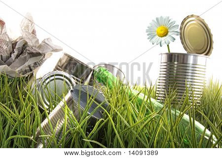 Trash, empty cans with daisy and bottles in the grass