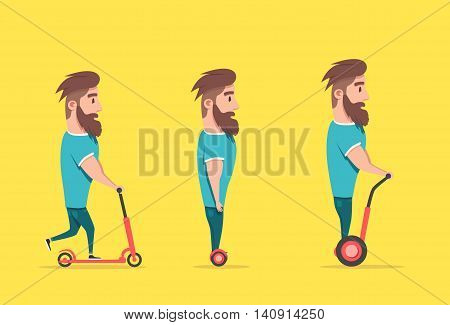 Man on hoverboard and scooter. Cartoon vector illustration. Human on Gyroscooter