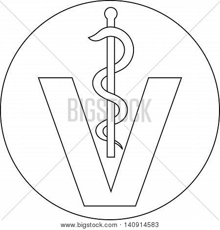 veterinary medical symbol illustration caduceus snake with stick