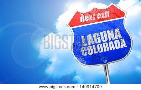 Laguna colorada, 3D rendering, blue street sign
