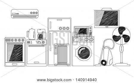 Electric House Appliances, Monochrome Outlined Vector Illustration. Black And White Home Electronics. Comfort Technology. Modern Kitchen Ware