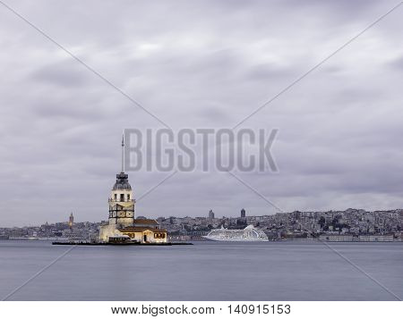 Maiden's Tower at Istanbul bosphorus in Turkey