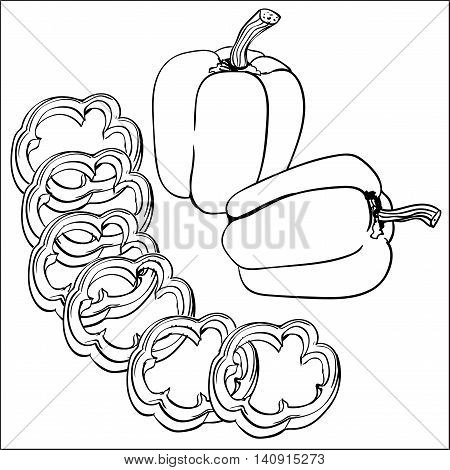 Outline isolated illustration of whole and sliced bell pepper.
