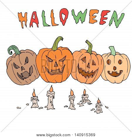 Vector seamless pattern for Halloween. Pumpkin, ghost, candles and other items on Halloween theme. Bright cartoon pattern for Halloween