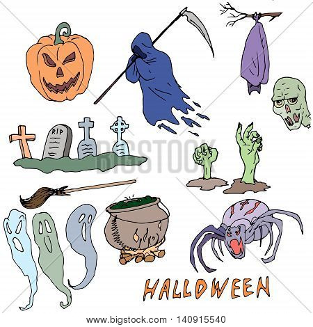 Vector seamless pattern for Halloween. Pumpkin, ghost, skull, brooms, spiders, death with a scythe, zombies, grave and other items on Halloween theme. Bright cartoon pattern for Halloween