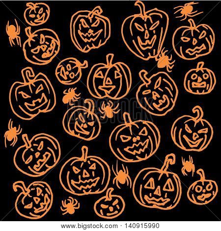 Vector seamless pattern for Halloween. Pumpkin, spiders and other items on Halloween theme. Bright cartoon pattern for Halloween