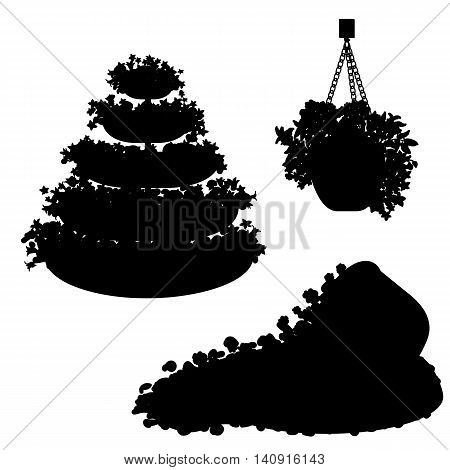 Vector set of black silhouette plants, flowers and floral arrangements