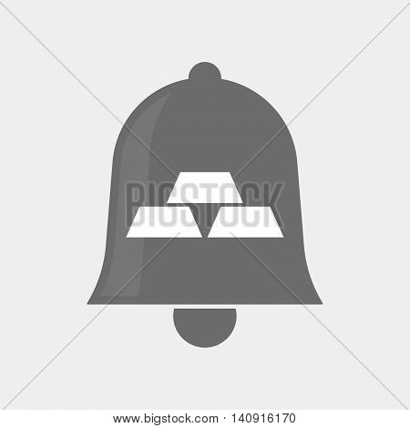 Isolated Bell Icon With Three Gold Bullions