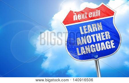 learn another language, 3D rendering, blue street sign