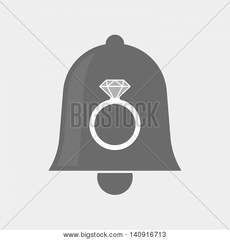 Isolated Bell Icon With An Engagement Ring