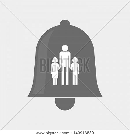 Isolated Bell Icon With A Male Single Parent Family Pictogram