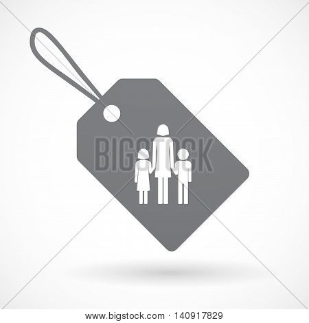 Isolated Label With A Female Single Parent Family Pictogram