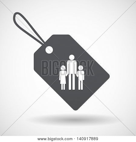 Isolated Label With A Male Single Parent Family Pictogram