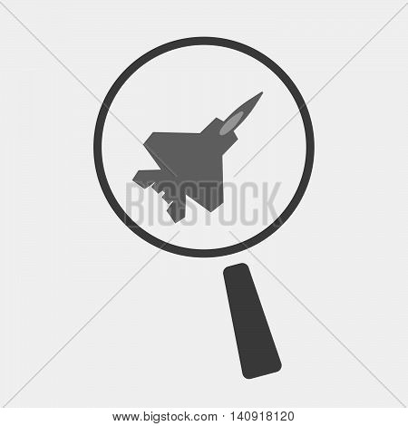 Isolated Magnifier Icon With A Combat Plane