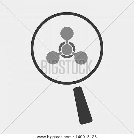 Isolated Magnifier Icon With A Chemical Weapon Sign