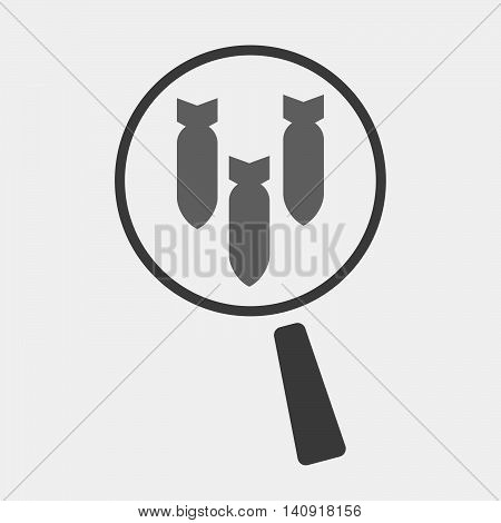Isolated Magnifier Icon With Three Bombs Falling