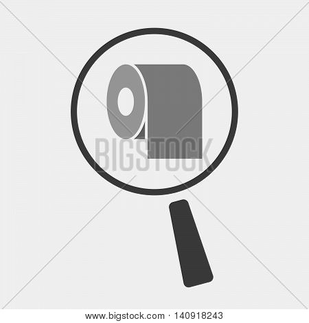 Isolated Magnifier Icon With A Toilet Paper Roll