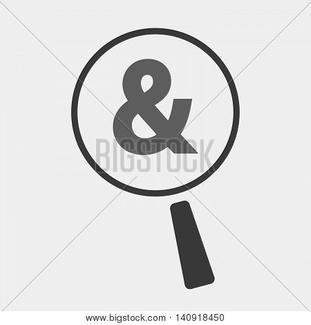 Isolated Magnifier Icon With An Ampersand