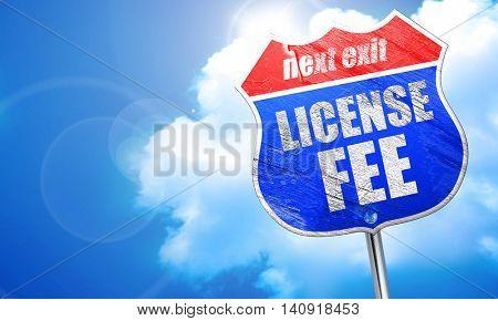 license fee, 3D rendering, blue street sign
